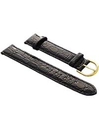 18mm Cuero de becerro pulsera de reloj en cocodrilo-diseño en negro con hebilla en oro