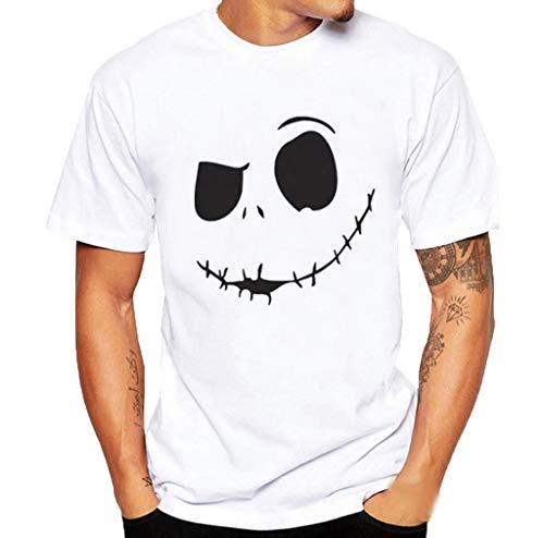 ESAILQ Männer Pullover Herren Sommer Böses Lächeln Gesicht Gedruckt Runder Kragen Bequeme T-Shirt Top(XX-Large,Weiß)