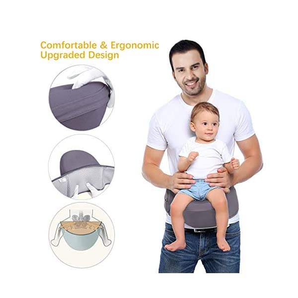 Viedouce Hip Seat Baby Carrier with Safety Belt Protection, Pure Cotton, Lightweight Ergonomic Waist Stool,Multi Positions Baby Front Carrier for 3-48 Month (Dark Grey) Viedouce 【ERGONOMIC DESIGN】 - Hip seat baby carrier perfectly adapts to your growing baby, allows baby to be in a natural sitting position and ride facing in or out. Effectively reduces the stress on your back whenever you carry baby at home, at work or while you travel.(Recommended by the International Hip Dysplasia Institute (IHDI) and pediatricians to prevent O-legs and poor blood circulation). 【Multiple Safe Guaranteed】- Come with the professional climbing double socket buckle design, which has strong bearing capacity, plus the baby safey belt provide extra support and security to prevents from falling off and safely hold the baby. 【Made for comfort】- The Baby Carrier Stool surface is filled with skin-friendly natural cotton fabric,lined with a 15mm memory foam pad around the abdomen for you. The inner cushion (detachable hip seat) is made of EPP foam, safe and to deform, which means great comfortable for you and baby. 3