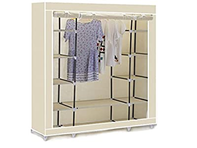BEIGE CREAM TRIPLE CANVAS CLOTHES WARDROBE CUPBOARD HANGING RAIL STORAGE WITH 11 SHELVES - 175 x 150 x 45cm ALSO AVAILABLE IN BLACK AND RED. - inexpensive UK wordrobe shop.