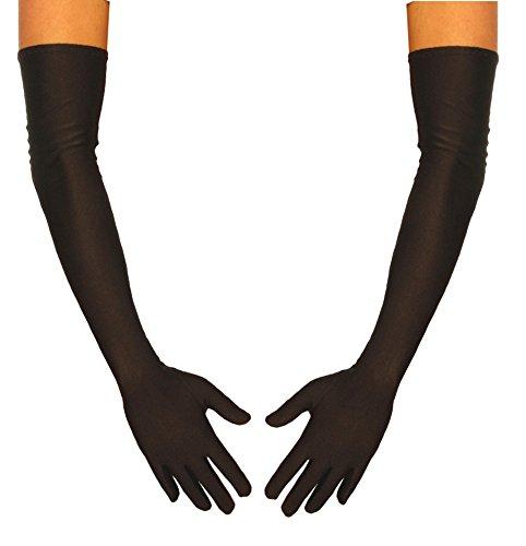 jowiha® Lange Satinhandschuhe in Schwarz Rot oder Weiß Einheitsgröße 53cm (Schwarz)