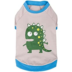 Blueberry Pet Alien the Dinosaur Cotton Dog Shirt in Grey, Back Length 41cm