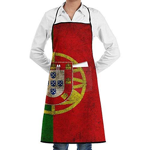 Weihnachts Wirt Kostüm - UQ Galaxy Grillschürze,Old Portugal Flag Stripes Schürze Lace Unisex Chef verstellbare Lange vollschwarze Küche Schürzen Lätzchen mit Taschen zum Basteln Garten Backen