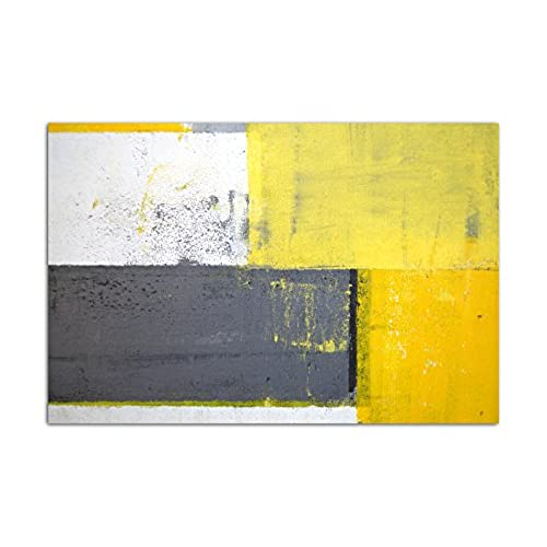 Good 120 X 80 Cm   Grey/Yellow Abstract Canvas Wall Picture Malkunst Art Modern  Style, Home Decoration Pictures