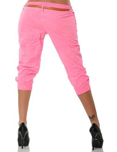 Damen Chino Capri Hose inkl. Gürtel (weitere Farben) No 13235 Pink