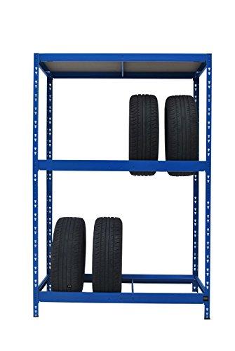 Stabiles Reifenregal | ✓ ca. 180 x 130 x 50 cm | blau | für 8 Reifen + 1 Boden | 130 cm breit ✓ Werkstattregal Reifenständer Metallregal Garagenregal