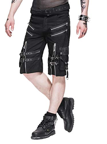 Devil Fashion M?nner Punk Gothic Mode Rei?verschluss kurze Hosen,XL