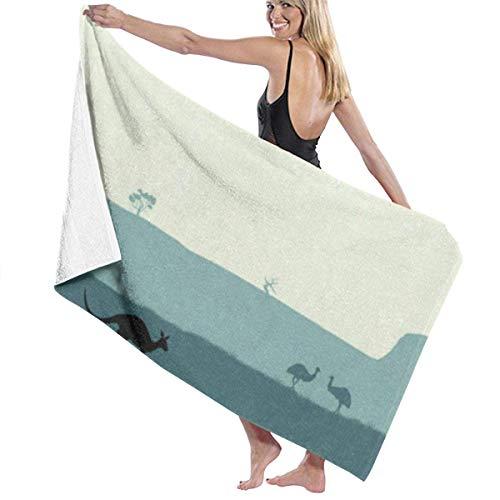 Beach Bath Towel Running Kangaroo Ostrich Personalized Custom Women Men Quick Dry Lightweight Beach & Bath Blanket Great for Beach Trips, Pool, Swimming and Camping 31