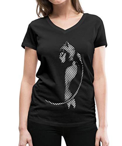Spreadshirt DC Comics Batman Catwoman Schatten Frauen Bio-T-Shirt mit V-Ausschnitt von Stanley & Stella, M, Schwarz