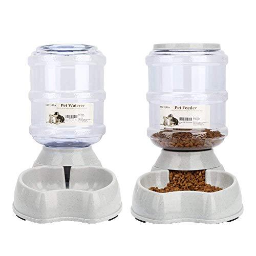 Old Tjikko Pet Automatic Waterer Feeder,Pet Water Feeder Fountain,Pet Water Dispenser, Automatic Dog Water Feeder Dispenser,3.8 L Feeding Watering Supplies (Pet Waterer and Feeder Set)