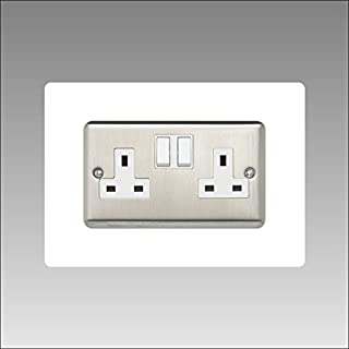 Double Socket Surround | Back Panel or Finger Plate | 17 Colours + Clear (Black, Grey, White, Yellow, Clear, Ivory, Blue, Brown, Green) Square Acrylic Light Switch Plug, Font Colour:White