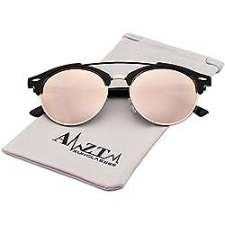 AMZTM Doppelbrücke Halbrand Klassisch Retro Polarisiert Verspiegelt Rund Wayfarer Sonnenbrille Damen