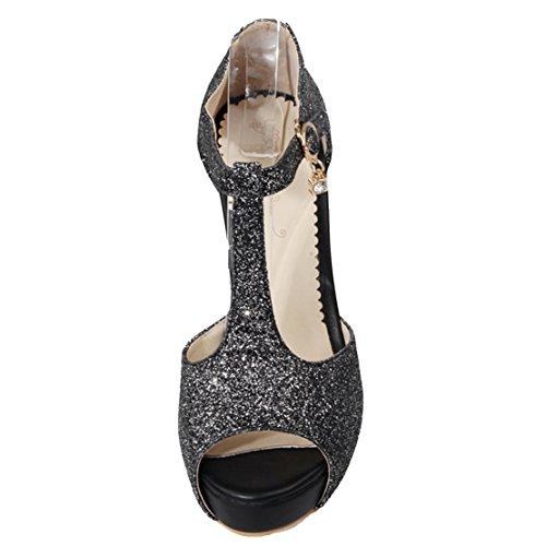 AIYOUMEI Damen Glitzer Knöchelriemchen Peep Toe T-spangen Sandalen mit 11cm Absatz Blockabsatz Sommer Schuhe Schwarz