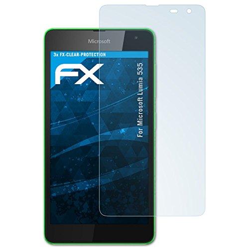 atFolix Schutzfolie kompatibel mit Microsoft Lumia 535 Folie, ultraklare FX Bildschirmschutzfolie (3X)