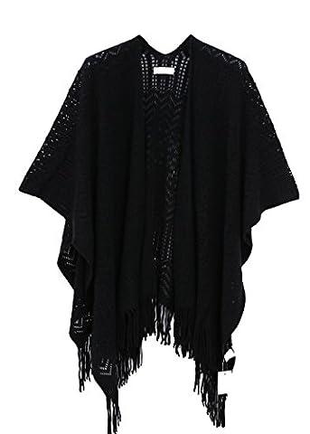 Femmes Floral Couvrez-vous,Mousseline Chales Cardigan Robes de chambre et kimonos Tops Outwear Blouse avec Fringes(Taille unique,Noir)