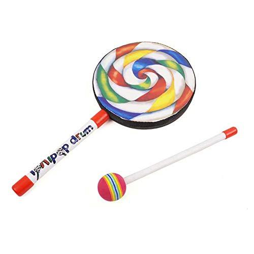YGQersh 6inch Lollipop Drums enfants aide à l'enseignement de la musique en bois instrument de percussion jouet