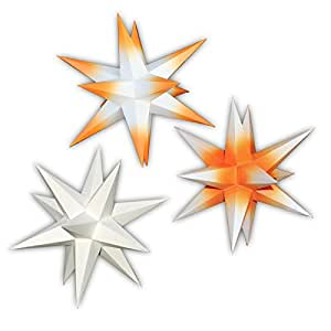 3er set beleuchtete sterne aus papier 1x wei 1x orange. Black Bedroom Furniture Sets. Home Design Ideas