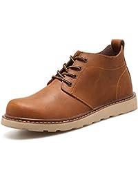 Hombres Botas de Cuero otoño Invierno Tobillo Botas Moda Casual Calzado Cordones Zapatos Vintage Hombres Zapatos