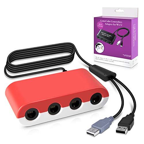 Keten Gamecube Controller Adapter, Super Smash Bros 4-Port-Gamecube-Controller-Adapter für Wii U, Nintendo Switch und PC USB (rot und weiß)