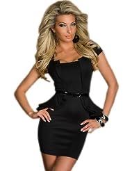Sexy Schößchen Minikleid Abendkleid Cocktailkleid Business Kleid Dress mit Gürtel Schwarz
