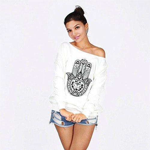 Frauen-Damen Anker weg von der Schulter Maxi-Slouchy Sweatshirt Pullover Tops Blusen Hamsa Hand