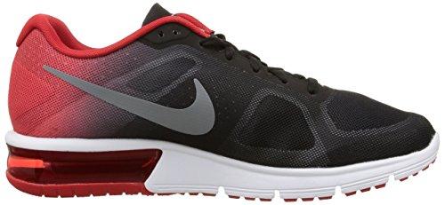 Nike Herren Air Max Sequent Laufschuhe, Schwarz Schwarz / Grau / Rot (Blk / Gry-Unvrsty MTLC Rd Cl-Cl)