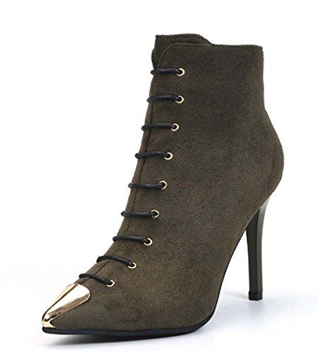 Stivaletto A Stivaletti In Punta Di Punta Con Tacco A Forma Di Stelo Semplice Stivaletto Heels Chelsea Boot Block Heel Knight Boot Suede Autunno / Inverno Donna Fashion Boot Green