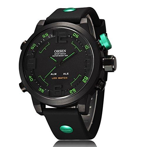 857bd7cbffc3 ShoppeWatch Mens LED Watch Black Silicone Band Dual Time Date Day Sport  Green Hand Reloj de