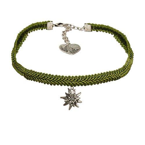 Alpenflüstern Trachten-Borten-Kropfband Strass-Edelweiss - nostalgische Trachtenkette enganliegend, elegante Kropfkette, Damen-Trachtenschmuck grün DHK192