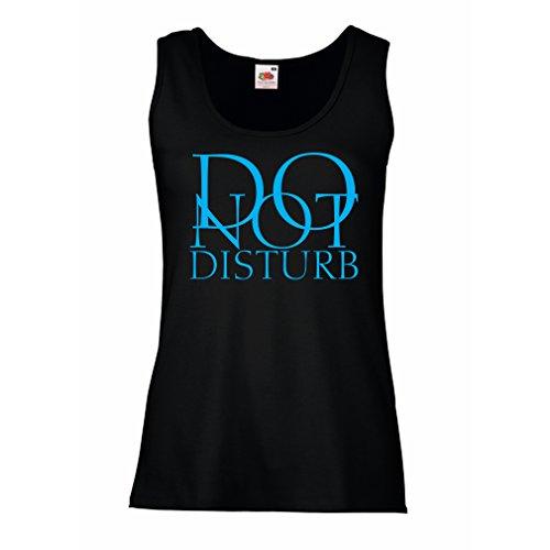 Serbatoio,Maglietta senza maniche femminile Non disturbare - citazioni divertenti - regalo Nero Blu