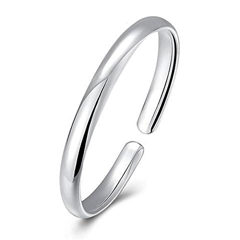 hmilydyk massiv 925Sterling Silber Open Armreif Armband High poliert Dome Form Rund jelwery für Frauen