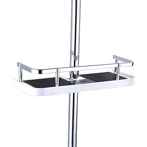 Fontic ABS Kunststoff Duschablage Badezimmerablage Dusche Rack Korb, ohne Bohren zu Montieren Geeignet für alle Durchmesser von 19 bis 25mm with Haken (Kunststoff Platz Kante)