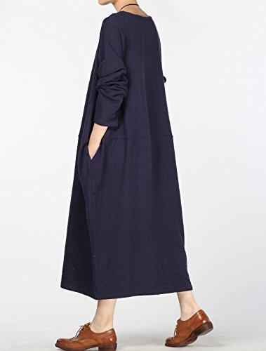 Vogstyle Damen Rundem Halsausschnitt Langarm Denim Baggy-Kleid mit Tasche Art 3 Navy Langarm
