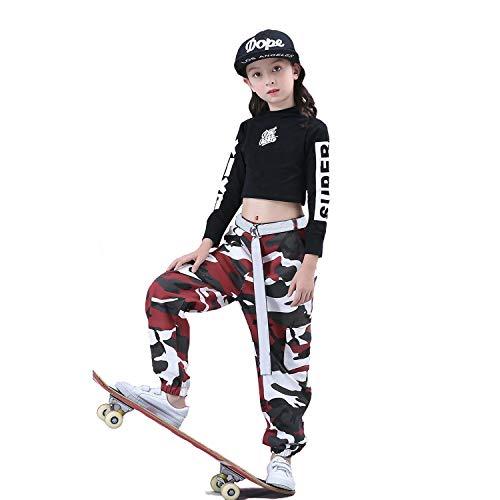 Mädchen Jazz Dance Kostüm Hip Hop Street Dancewear Kinder Dance Camo Kleidung ()