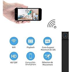 Mini Caméra Espion, FREDI HD 720P Portable WIFI Caméra de Surveillance Wlan Caméscope Caché Sans Fil IP Caméra de Sécurité Détection de Mouvement Portable pour iPhone Android PC