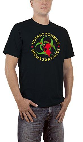 Kostüme Kiss Die Halloween Band (Touchlines Herren T-Shirt Mutant Zombies Biohazard Kiss Schwarz (Black 13),)