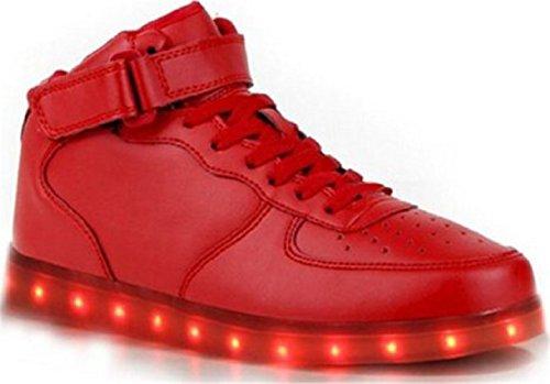 [Présents:petite serviette]JUNGLEST - 7 Couleur Mode Unisexe Homme Femme USB Charge LED Lumière Lumineux Clignotants Chaussures de marche Chaussures de Sports Basket Rouge