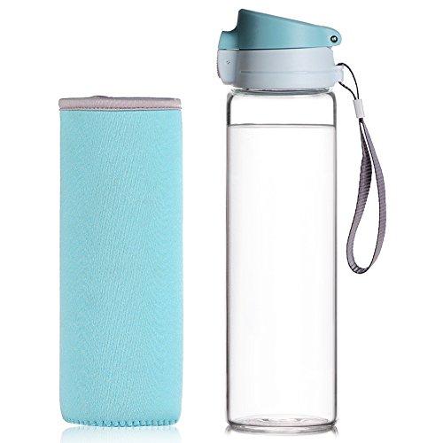 Reeho® Tragbare 510ml Sportflasche Trinkflasche aus Glas, BPA-frei Wasserflasche Glas, Borosilikat Glasflasche Mit Nylon Tasche, Flaschen für Wandern, Fitnessstudio , Laufen Blau