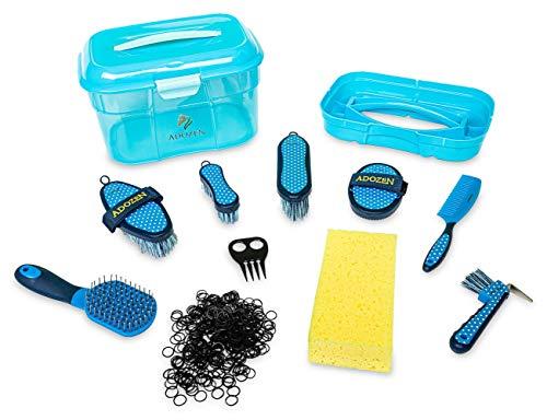 Adozen Pferde-Putzbox XL mit Inhalt für Kinder und Erwachsene   10-Teilig befüllt   Soft Touch Antirutschgriffe   Blau mit weißen Punkten