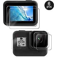 Deyard Pellicola Protettiva per GoPro Hero 8 Black, 4 Pezzi in Vetro Temperato Ultra Trasparente + 2 Pellicole Protettive HD per GoPro Hero 8 Black