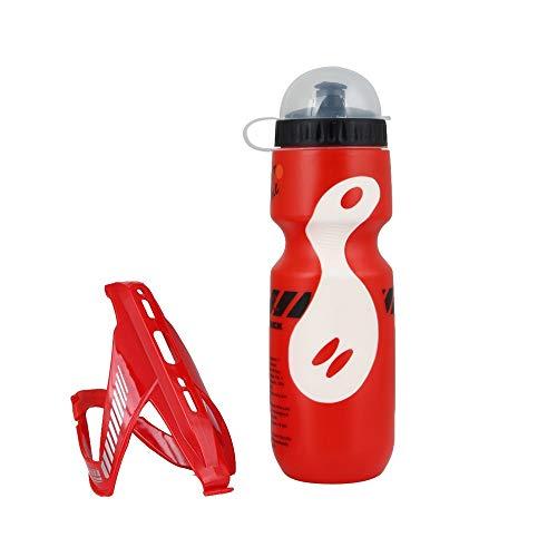Modenny 650 ML Tragbare Outdoor Fahrrad Fahrradschale Radfahren Sport Getränkekanne Wasserflasche Tasse Tour De France Fahrradflasche Mit Halter (Color : Red)