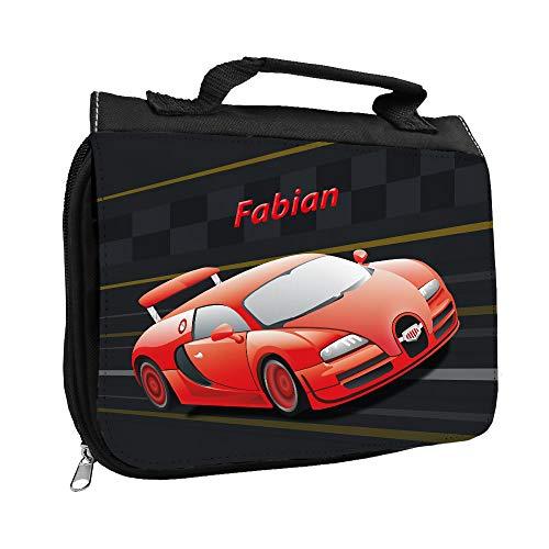 Kulturbeutel mit Namen Fabian und Racing-Motiv mit rotem Auto für Jungen | Kulturtasche mit Vornamen | Waschtasche für Kinder