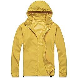 Mochoose Impermeable Con Capucha Cortavientos Para Mujer Color Amarillo Talla XL