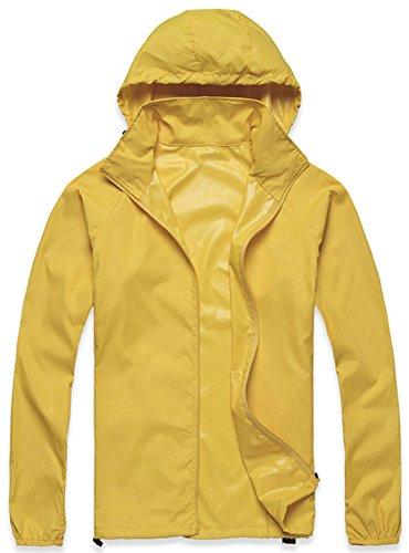 Mochoose Donna Super Leggero Giacca Indumenti Impermeabili all'aperto con Cappuccio Quick Dry Windbreaker UV Cmpermeabile Proteggere la Pelle Coat(giallo,XXL)
