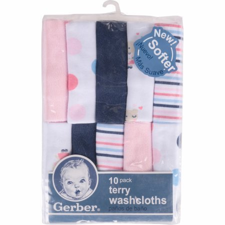 Gerber Newborn Baby Girl Assorted Terry Printed Washcloths, 10-Pack