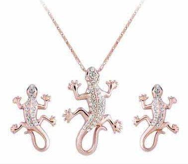 Wonvin Frauen Schmuck Set Zirkonia Kristall Gecko Anhänger Halskette Ohrringe 18K Gold überzogen (Weihnachts-gecko)