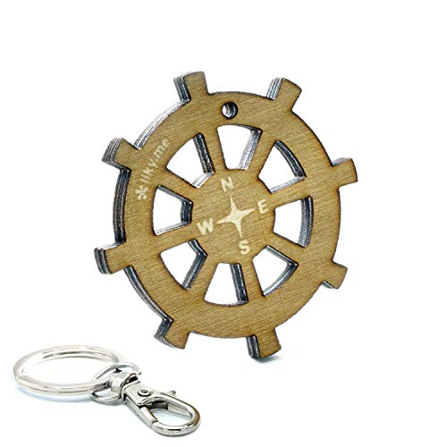 LIKE-TAG® Barco timón llavero original de madera grabado regalo para día del padre hombre mujer cumpleaños pasatiempo colgante bolso mochila