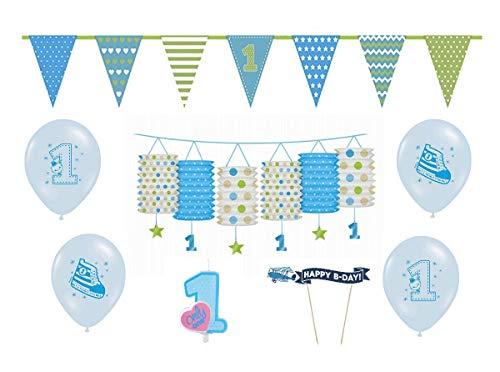 Feste Feiern Kinder-Geburtstagsdeko erster 1 Geburtstag   8 Teile für Jungen im Deko Set Verschiedene Blautöne   Happy Birthday Kleiner Prinz