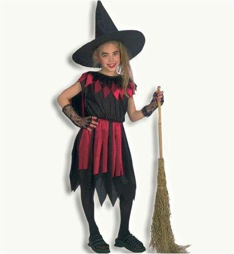 Kinder Mädchen Kostüm Gr 140 (Kind Hexe Hut Mit Perücke)