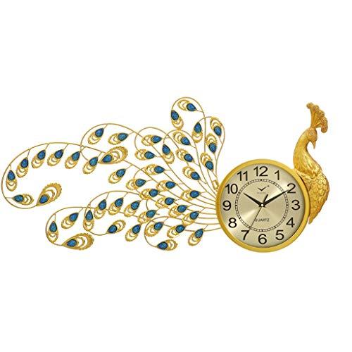 Relojes de pared MEHE Europeo del Metal del Pavo Real diseño Creativo Gran Sala de Estar Dormitorio decoración del hogar Mute Reloj de Cuarzo silencioso (Color : C)